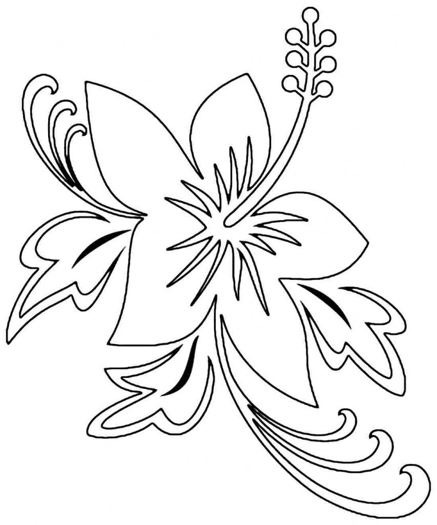 853x1024 Hibiscus Coloring Pages Images Embroidery Patterns