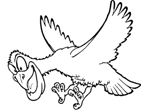 480x374 Funny Hawk Cartoon Character Coloring Page
