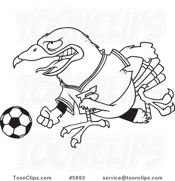 581x600 Cartoon Black And White Line Drawing Of A Soccer Hawk