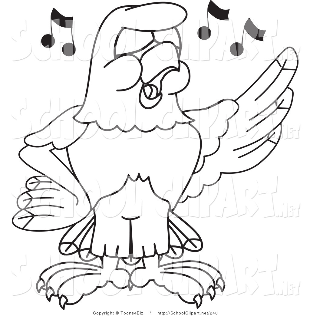 1024x1044 Clip Art Of A Coloring Page Bald Eagle Hawk Or Falcon Singing By