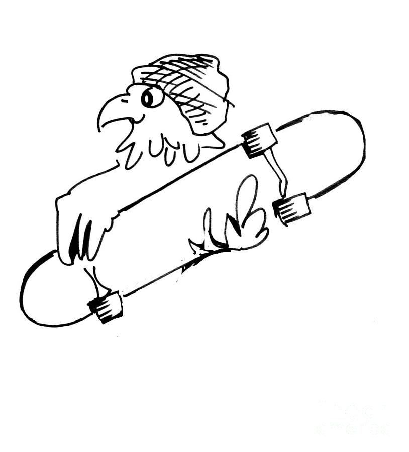 814x900 Skateboard Hawk Drawing By Paul Miller