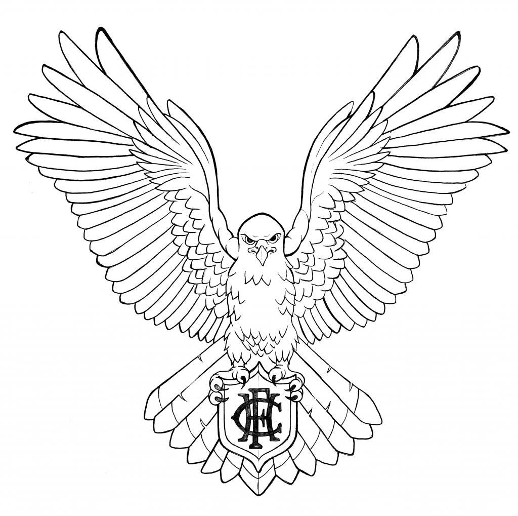1024x1019 Black Outline Hawk Tattoo Stencil