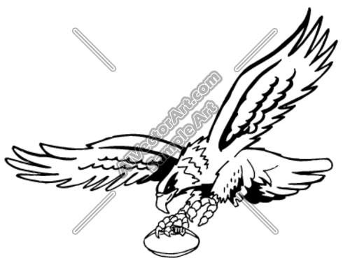 500x375 Flying Eagle With Football In Claw Clipart And Vectorart Sports