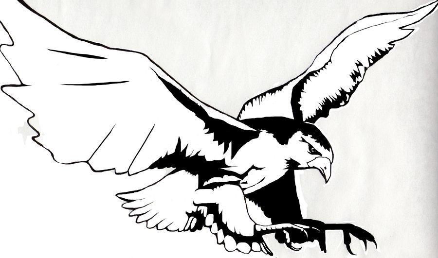 900x531 Flying Japanese Hawk Tattoo Design