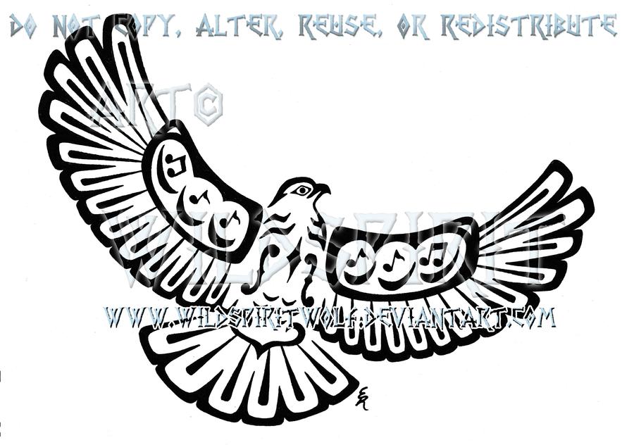 900x632 Musical Pacific Northwest Hawk Tattoo By Wildspiritwolf