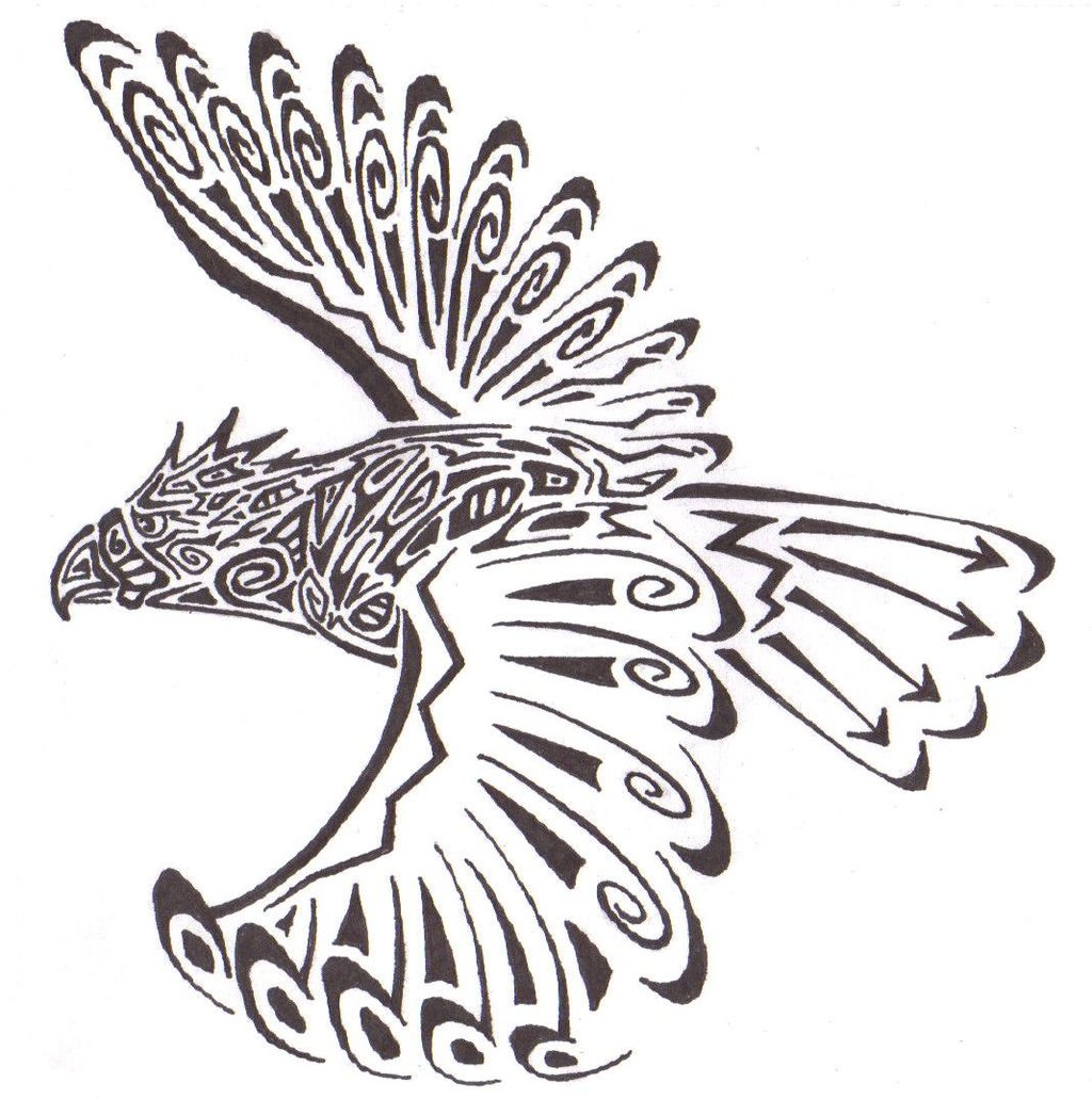 1024x1031 Tribal Hawk Request By Summonerwolf