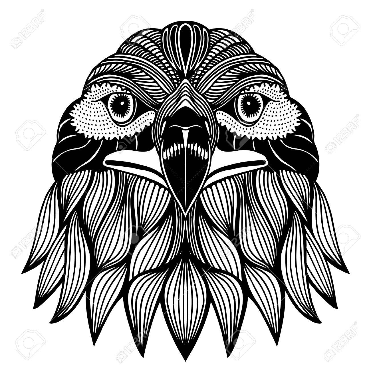 1300x1300 Hand Drawn Head Of Eagle. Doodle Vector Illustration Isolated
