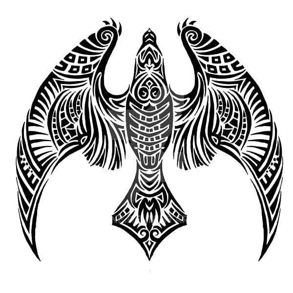 600x600 Tribal Night Hawk Tattoo Design Colour Black, Hawk Tattoo And Tattoo