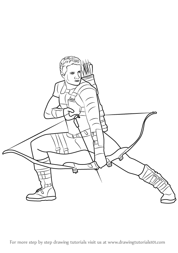 596x843 Learn How To Draw Hawkeye From Captain America Civil War (Captain