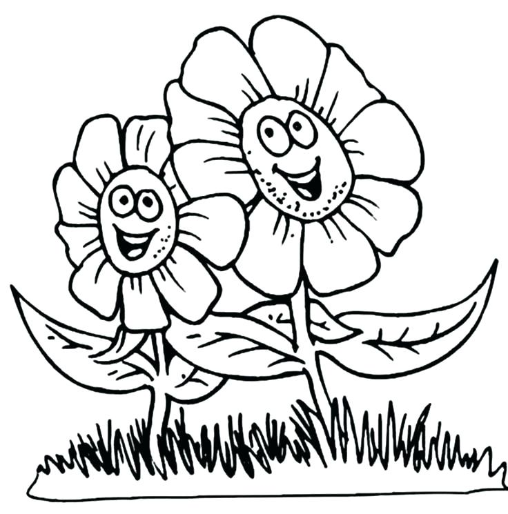 736x745 Good Flower Coloring Pages Free Image Printable Of Flowers Happy