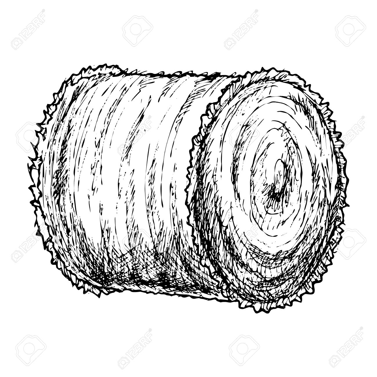 1300x1300 Roll Of Hay Sketch Royalty Free Cliparts, Vectors, And Stock