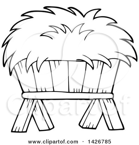 450x470 Clipart Of A Black And White Lineart Hay Feeder