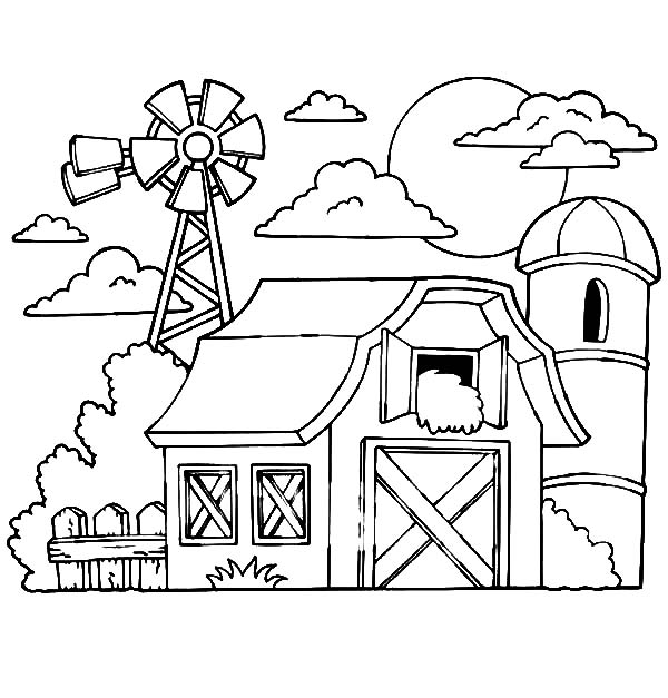 600x627 Barn With Hay In The Loft A Silo And Windmills Coloring Pages