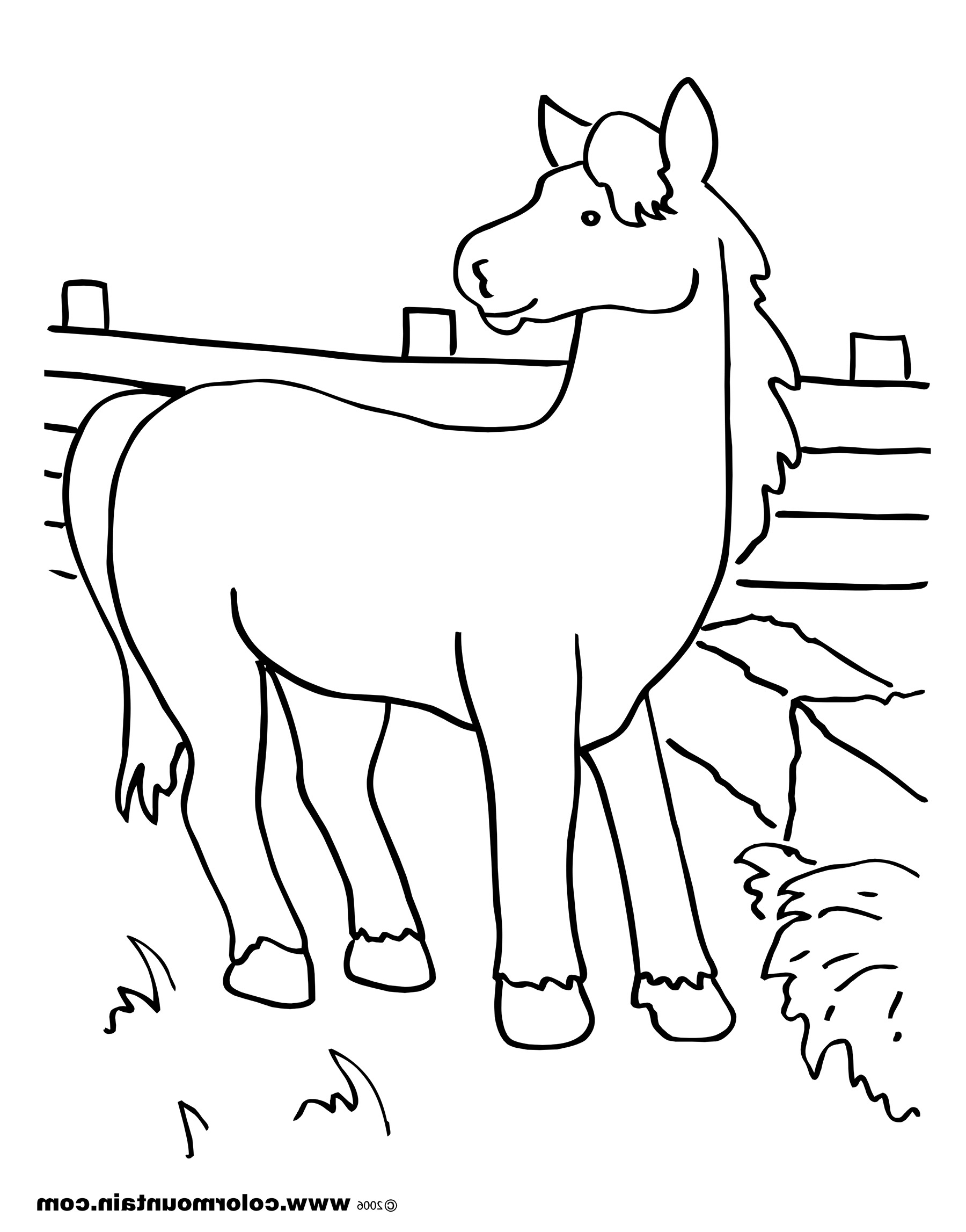 1800x2294 Horse Eating Hay Coloring Page