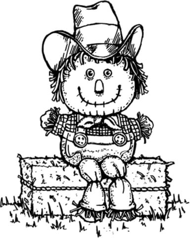 384x480 Scarecrow Hay Man In Old Clothes Coloring Page Free Printable