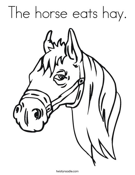 468x605 The Horse Eats Hay Coloring Page