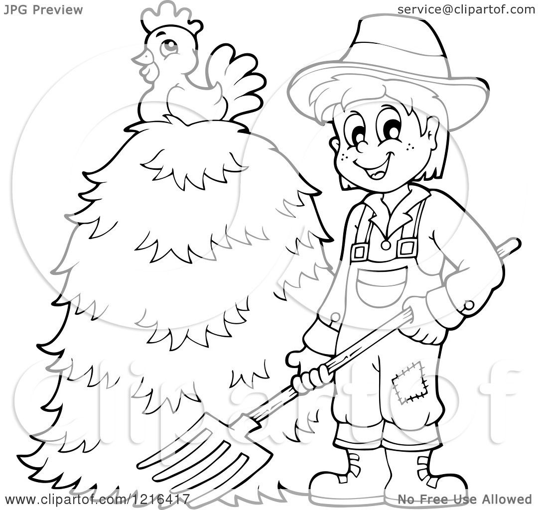 1080x1024 Clipart Of An Outlined Happy Farmer Holding A Pitchfork By A Pile