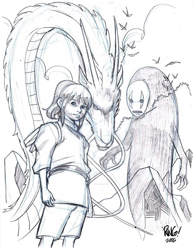 623x800 Spirited Away By Wieringo Lineart Superhero Detailed