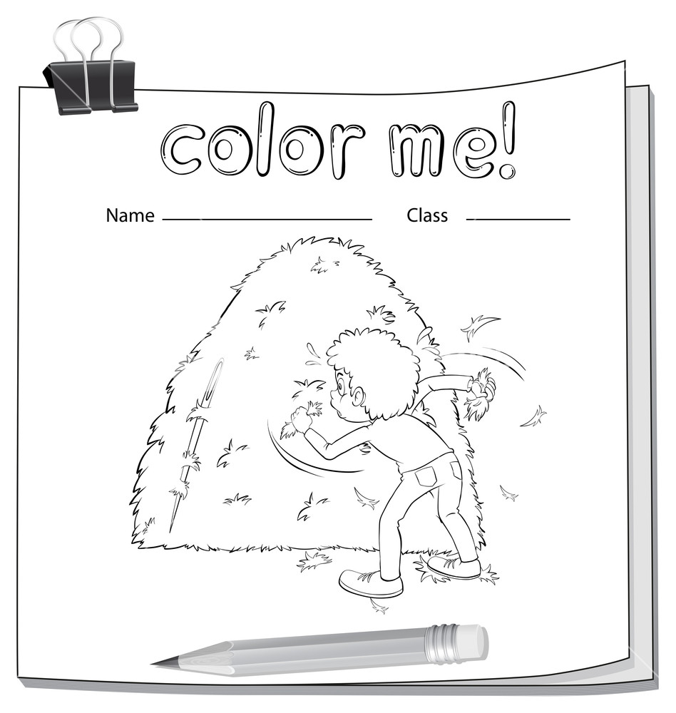 948x1000 A Worksheet Showing A Boy And A Haystack On A White Background