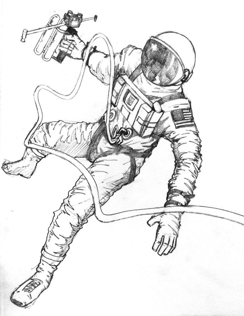 791x1024 Pin By Micha Eliszt On In Space Astronaut Drawing