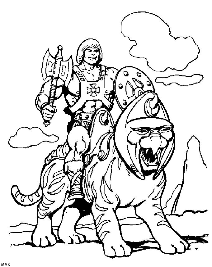 681x860 He Man And Battle Cat Coloring Page He Man And The Masters