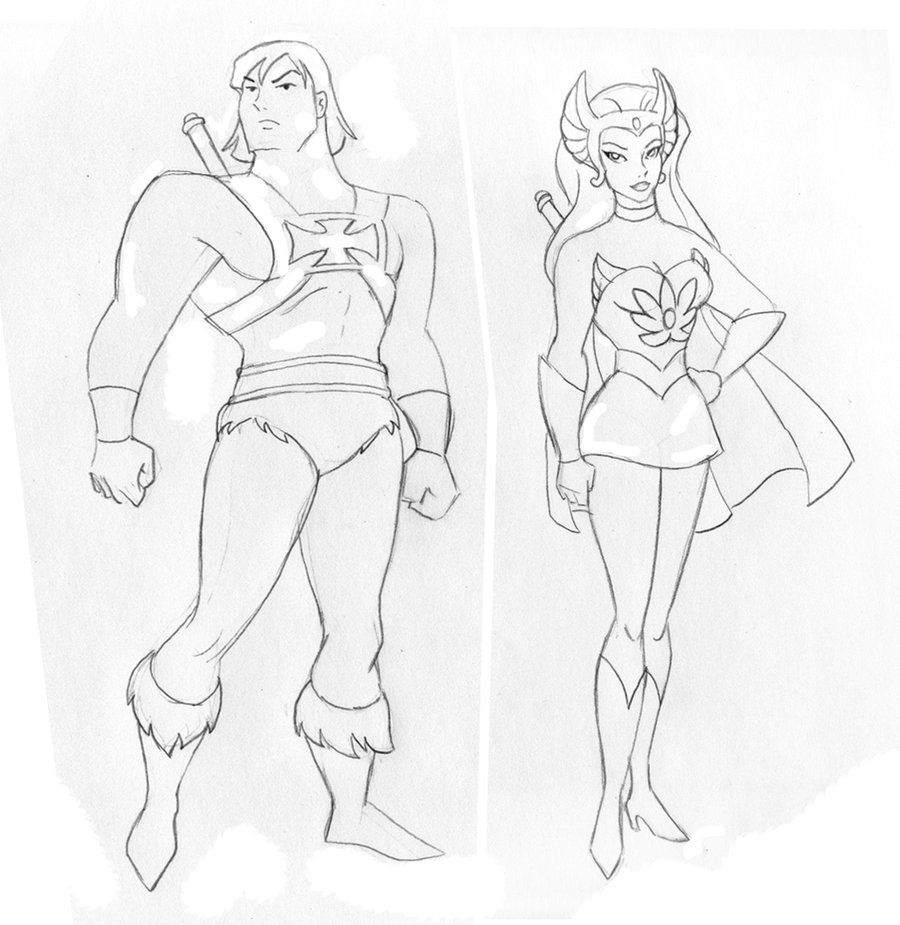 900x925 He Man And She Ra In Batman Animated Style By Tessandrafae