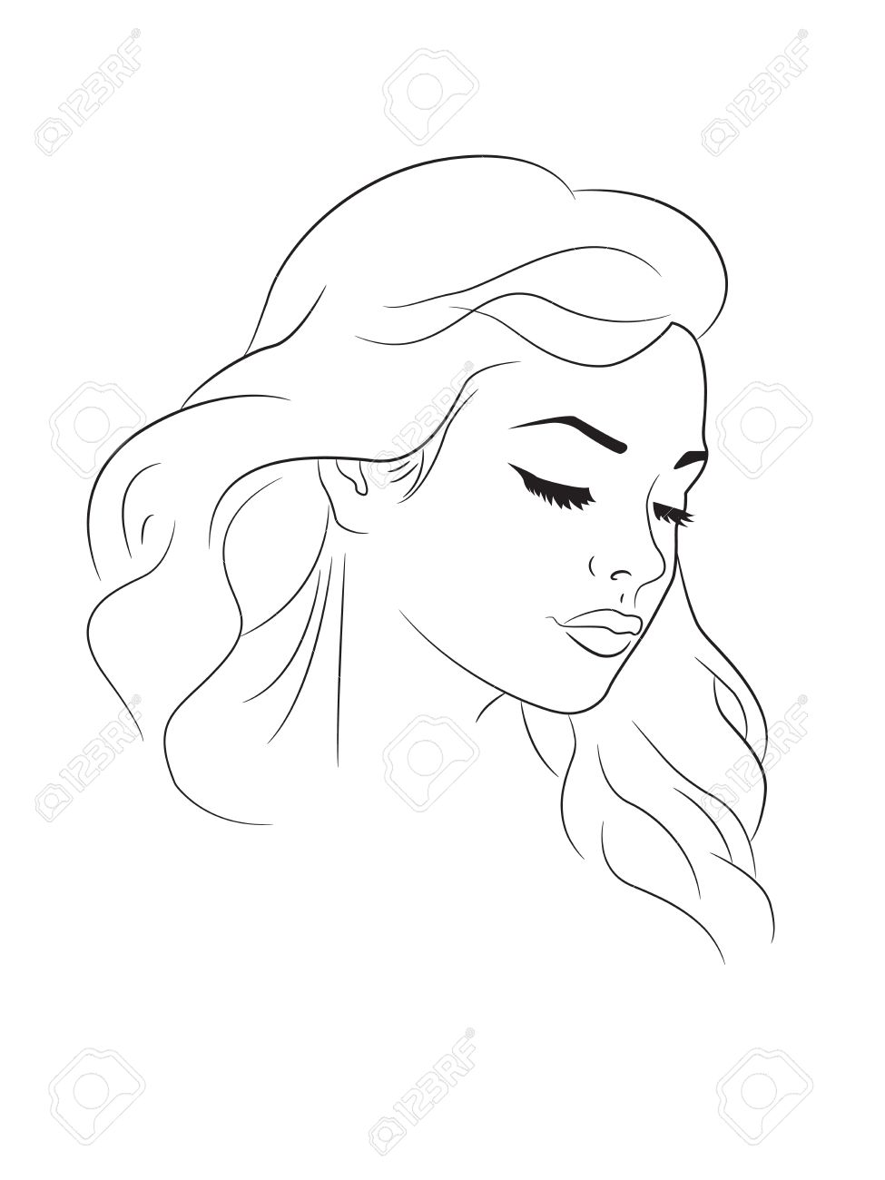 975x1300 Outline Drawing Of A Young Woman Head Royalty Free Cliparts
