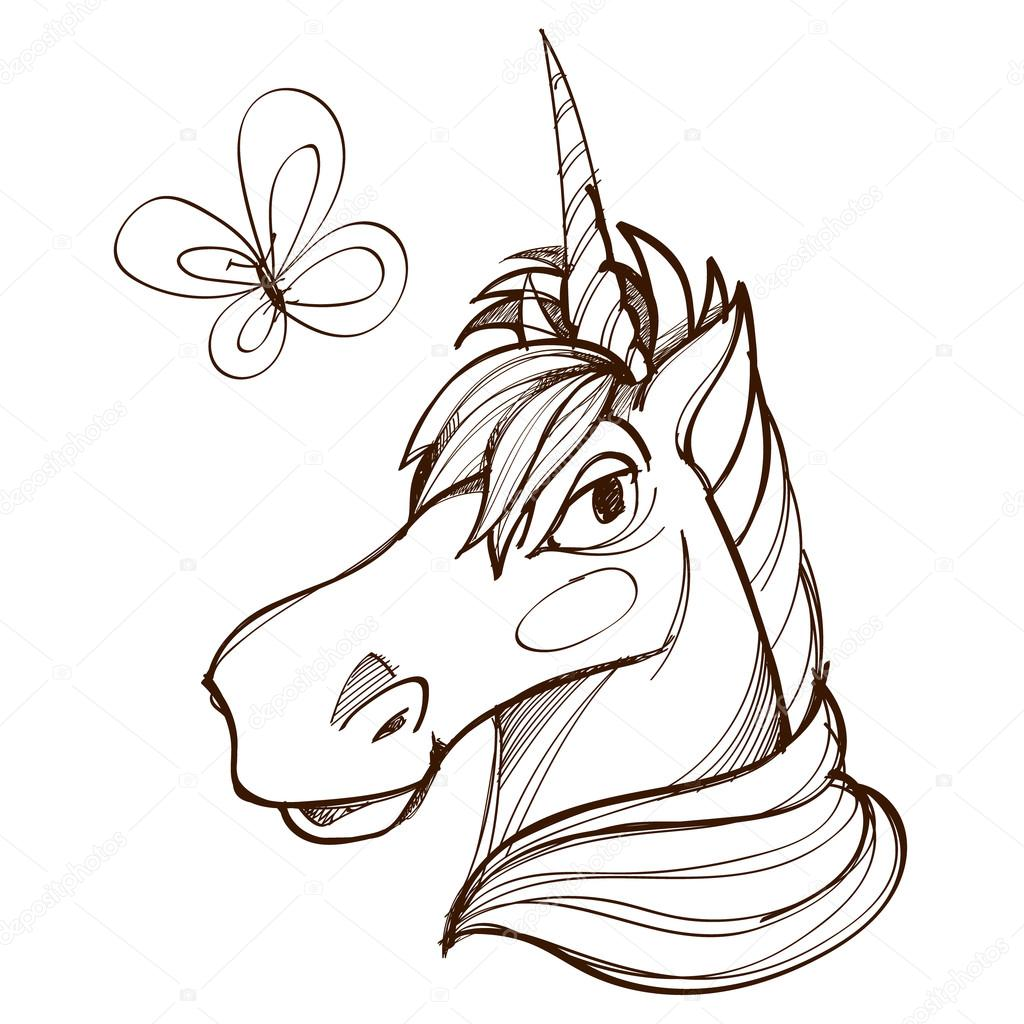 1024x1024 The Head Of The Unicorn Drawing In Cartoon Style, Fairy Tale