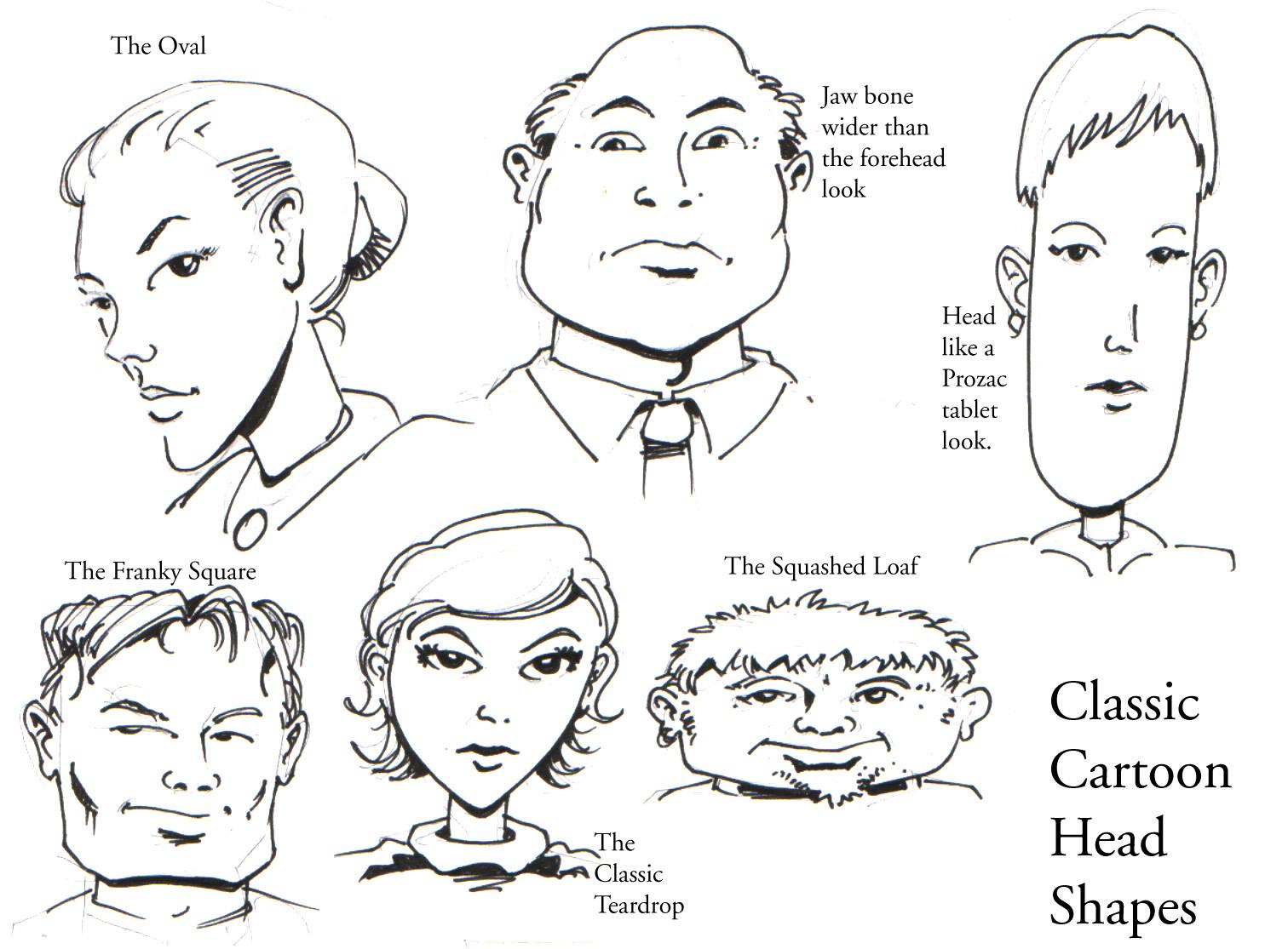1512x1115 Cartoon Head Shapes Drawing Classic Cartoon Head