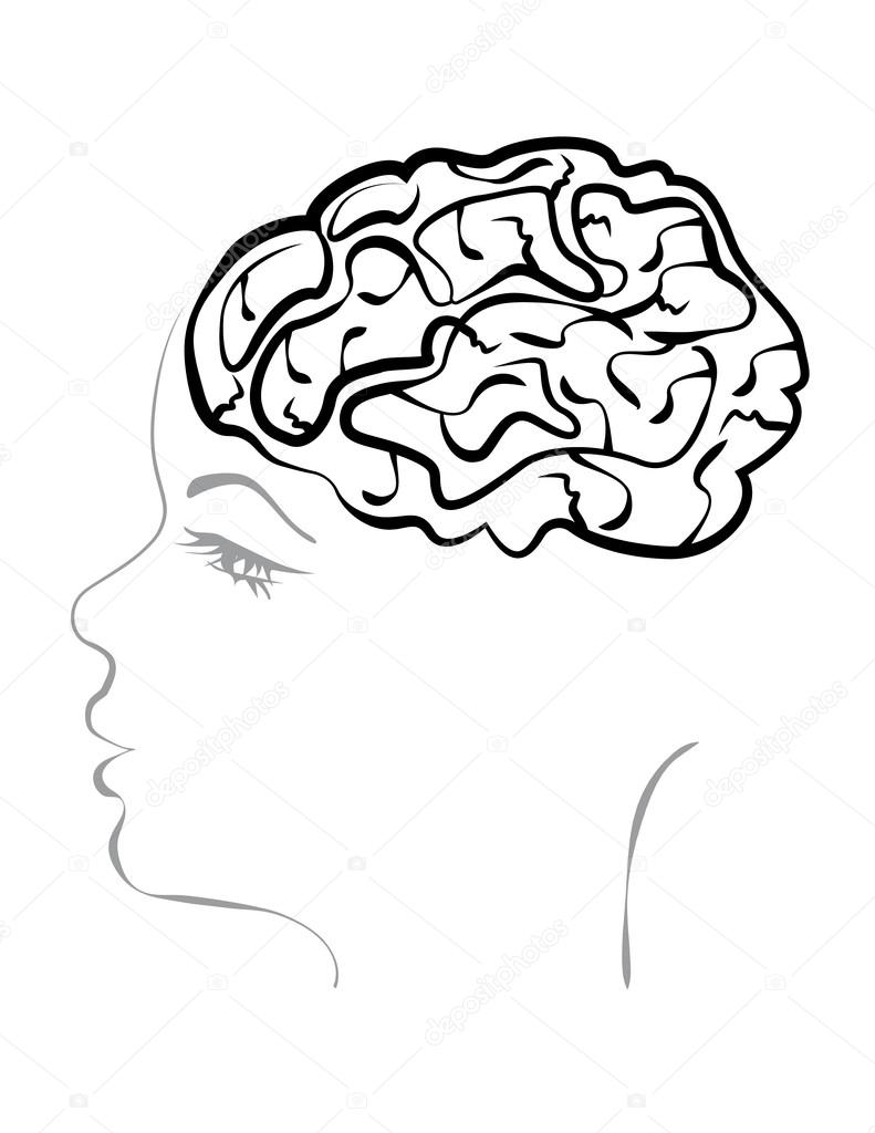 791x1024 Concept Of A Headache. Open The Skull And Brain Of A Woman Stock