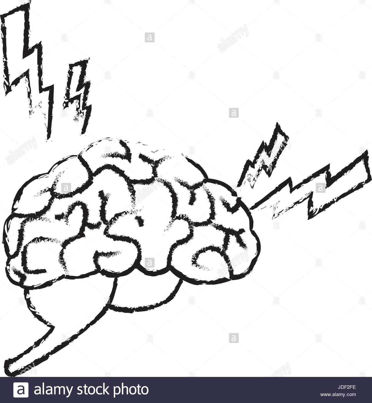1282x1390 Drawing Brain Human Headache Pain Sick Organ Stock Vector Art