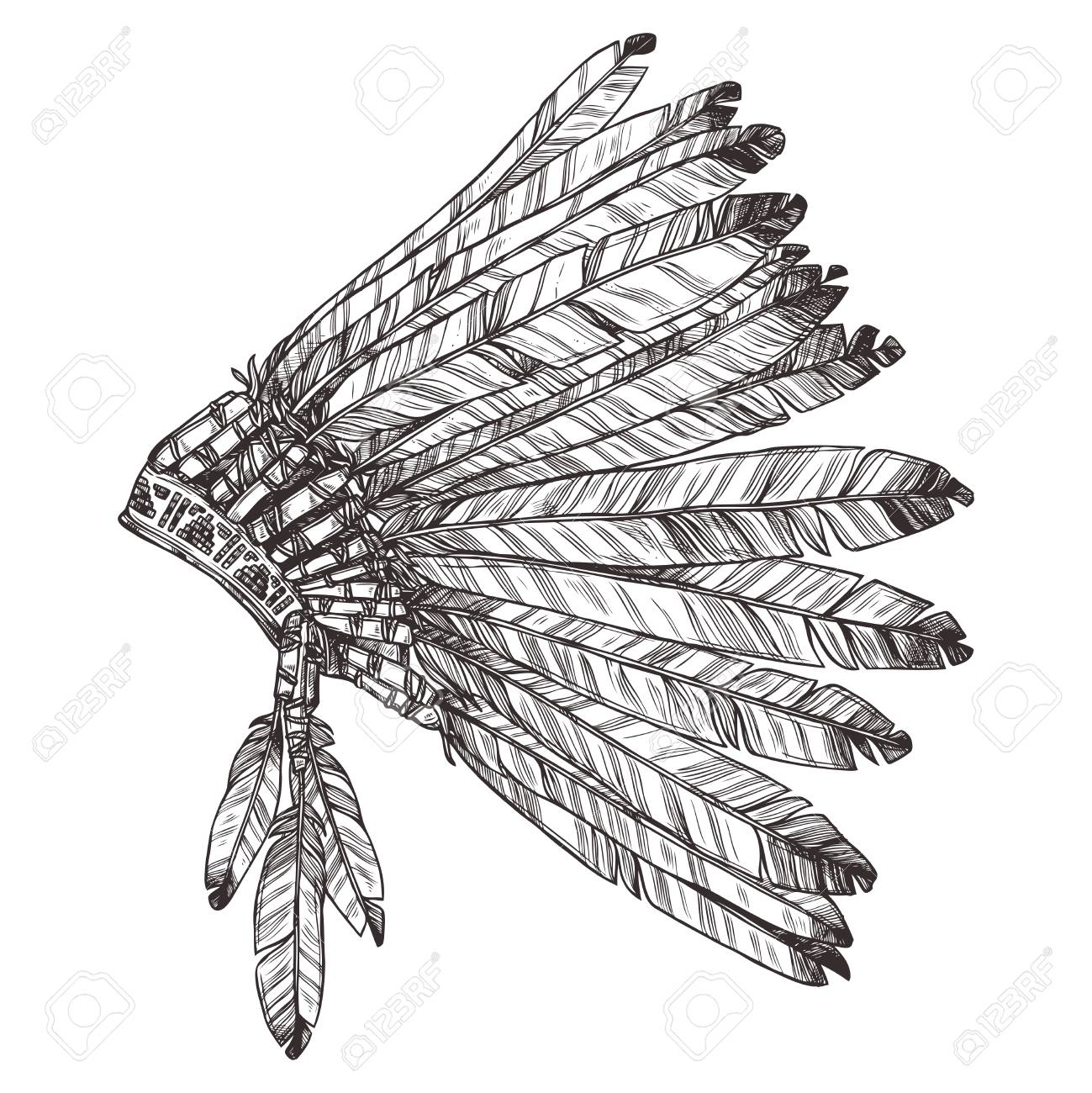 1299x1300 Hand Drawing Of Native American Indian Headdress In Profile