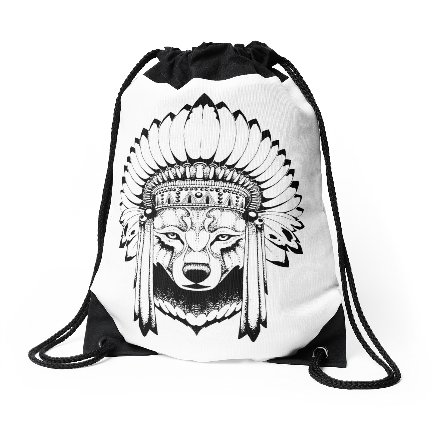 1435x1404 Indian Wolf Headdress Drawstring Bags By Eazypeazy Redbubble