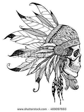 351x470 Indian Skull With Headdress Feathers. The Leader A Tribe