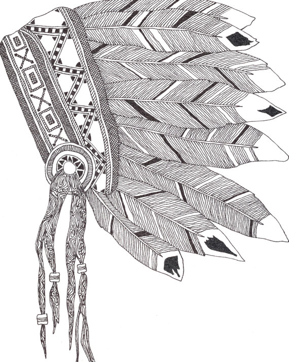 570x713 Native American Headdress Print. Doodle Headdress