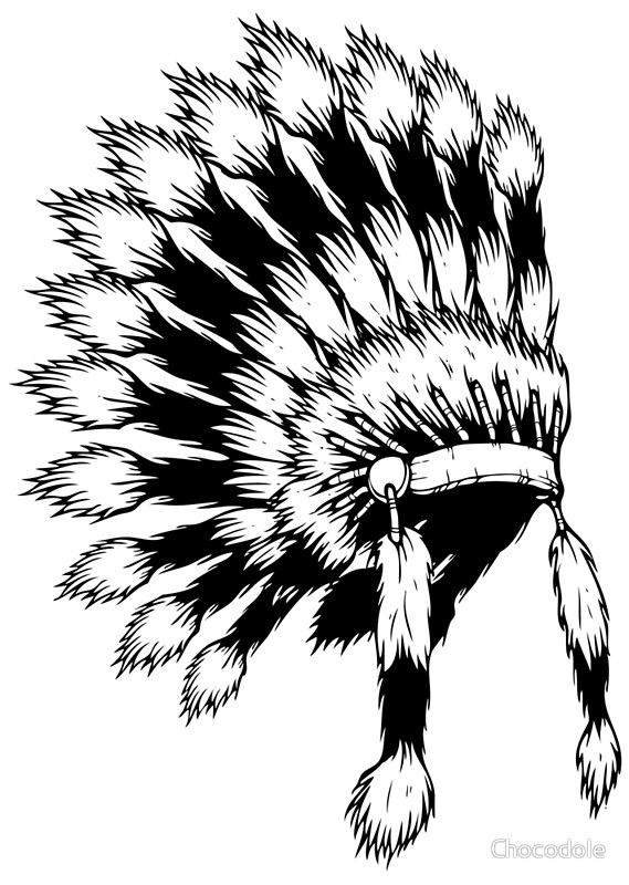 569x800 American Native Headdress Illustration Greeting Cards By