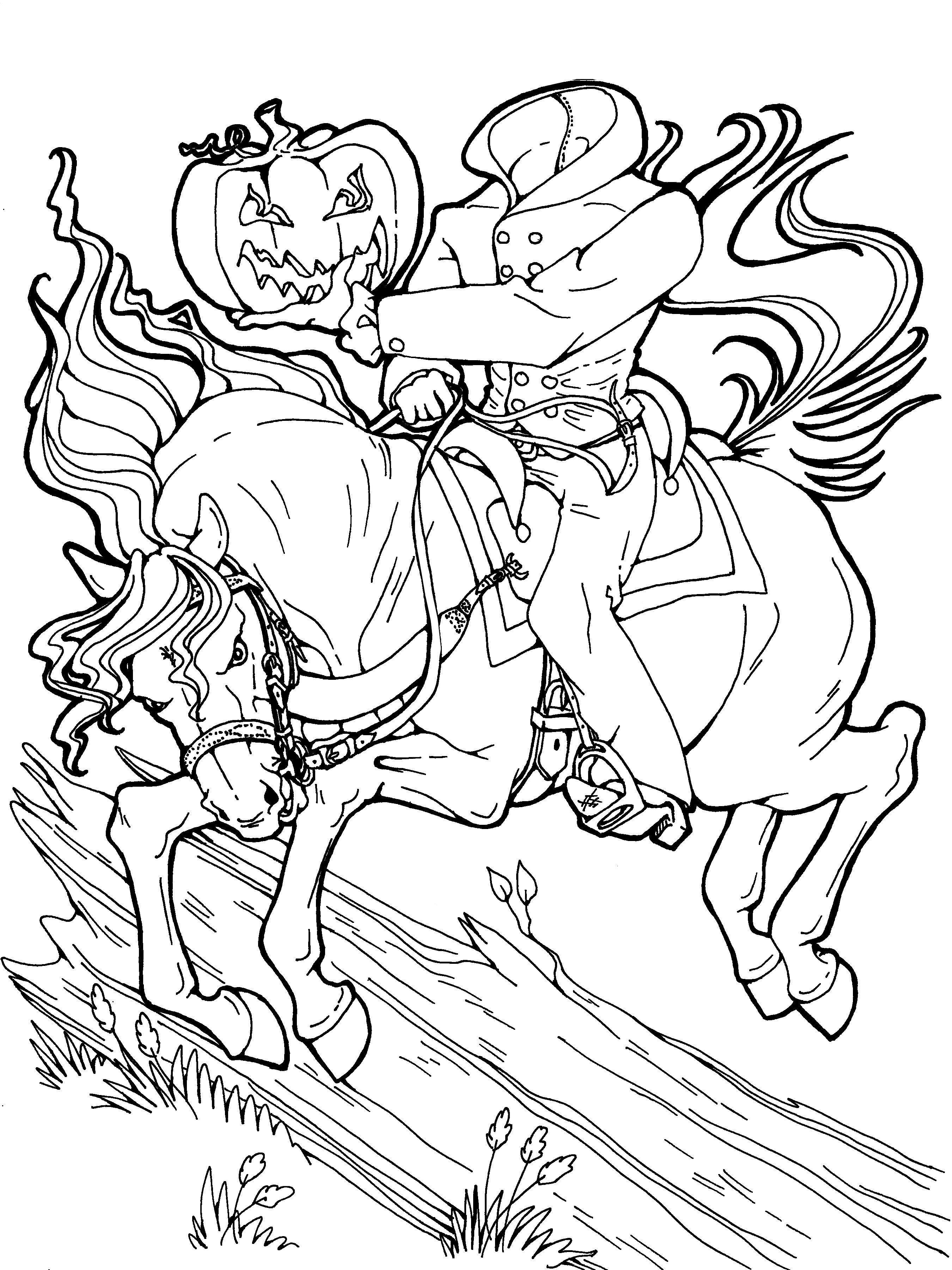 2700x3600 Headless Horseman Halloween Coloring Page. Get More Halloween