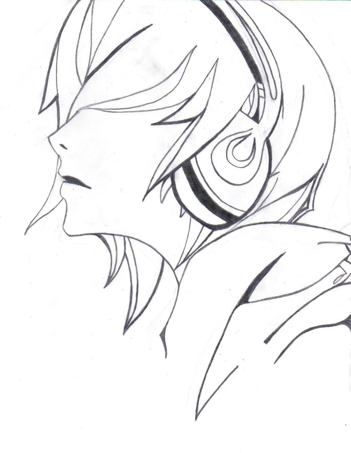 1216x1569 Emo Anime Girl With Headphones Drawings Headphones By