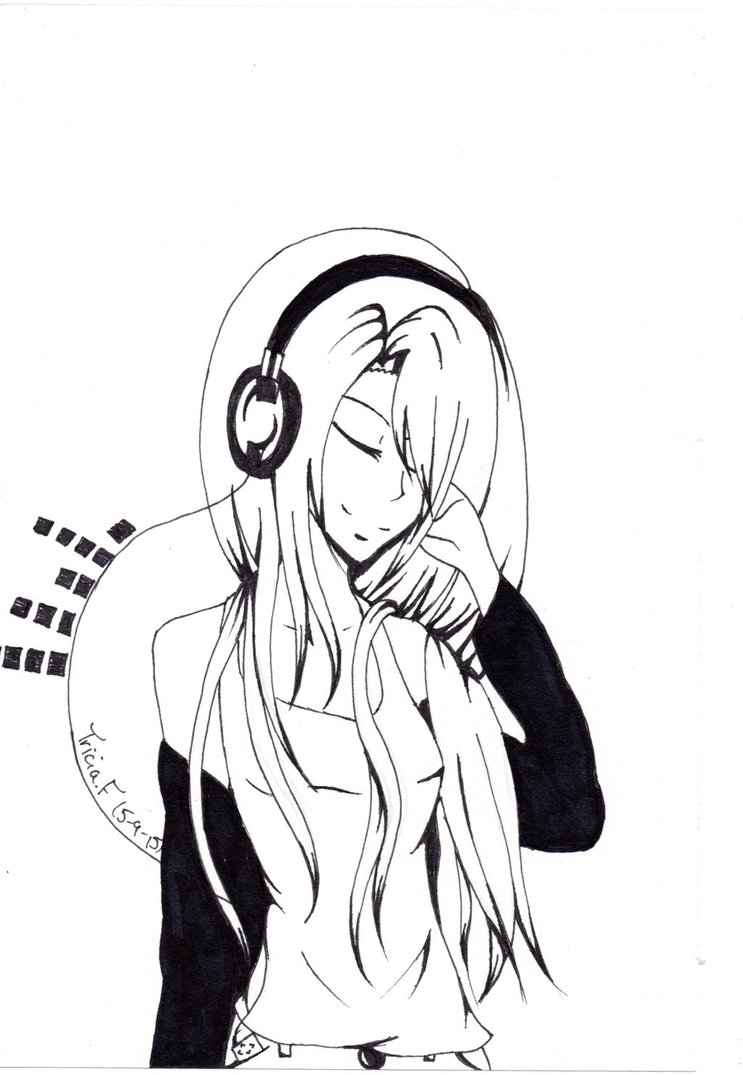 743x1075 Headphone Anime Girl By Triciacreations