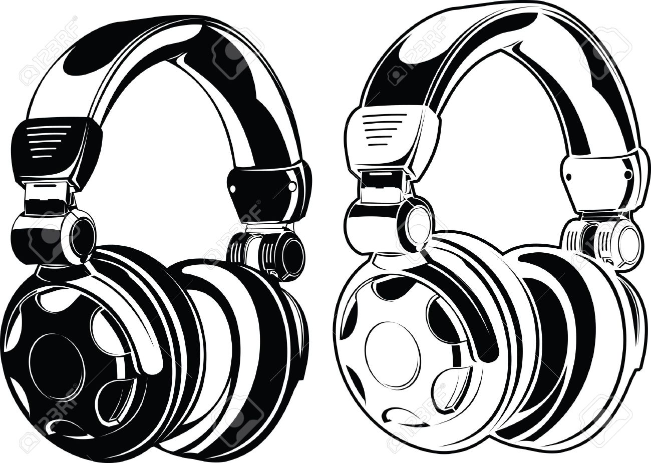1300x925 Headphones One Color Drawings Royalty Free Cliparts, Vectors,