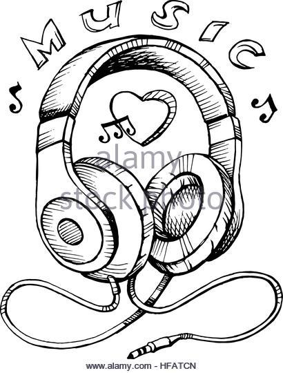 410x540 Audio Headphones Sketch Stock Photos Amp Audio Headphones Sketch