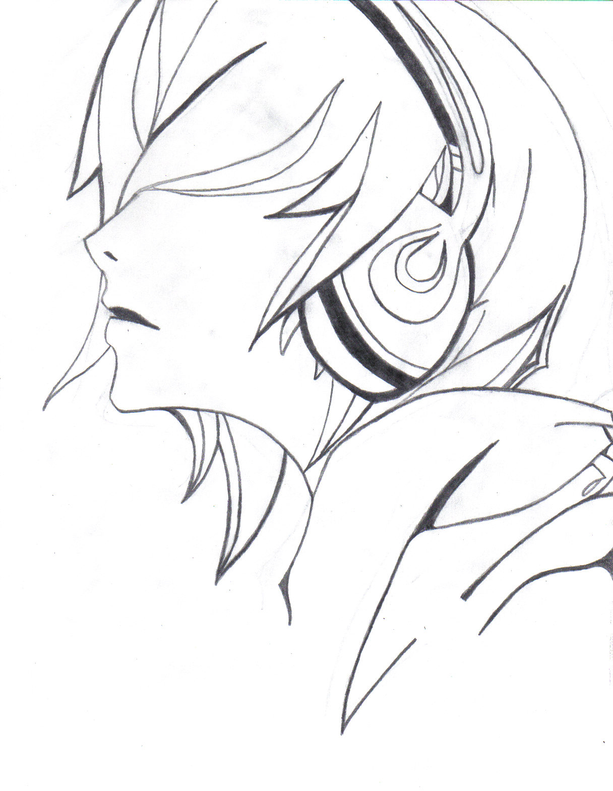1216x1569 Cool Anime Boy With Headphones Drawing