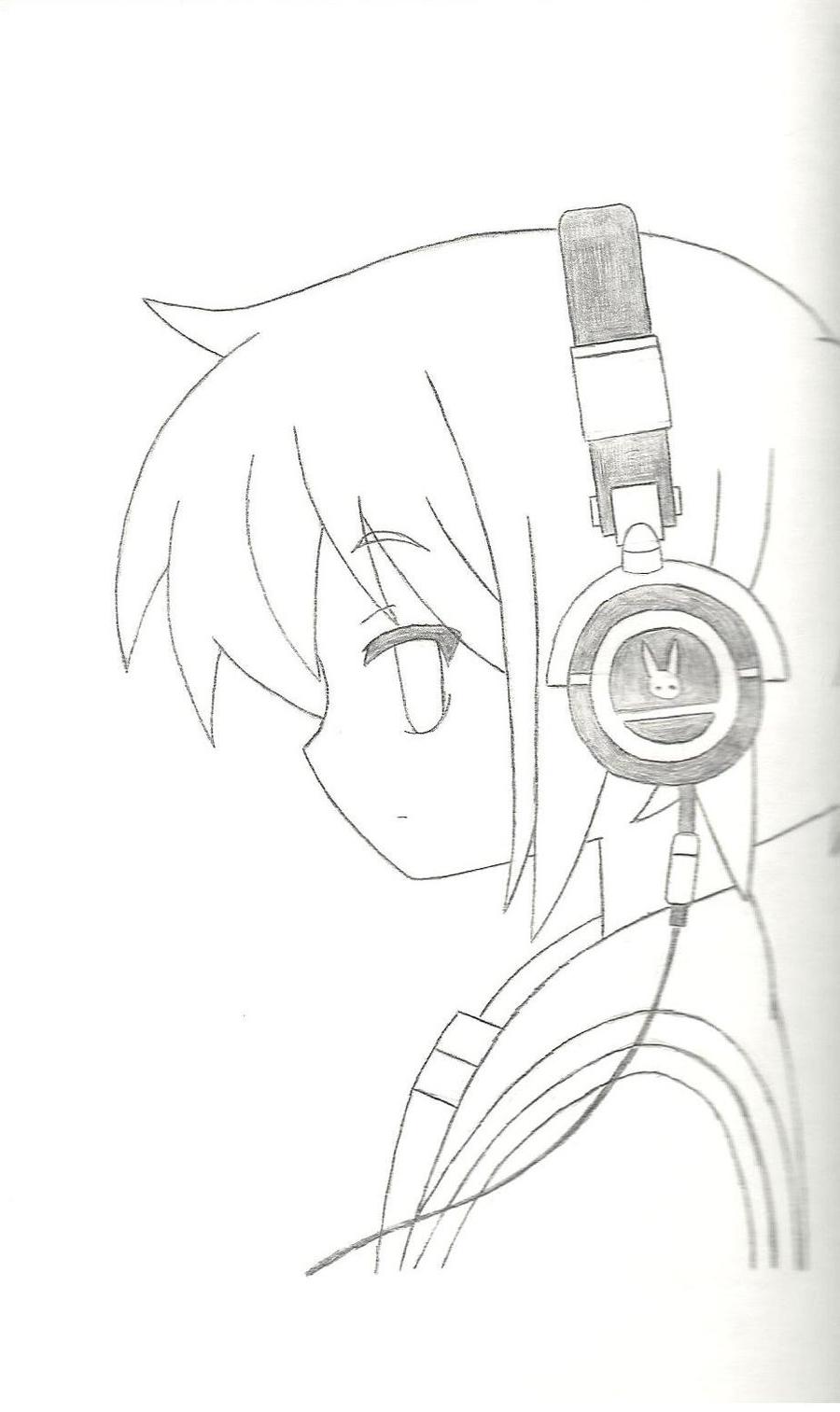 900x1513 Emo Anime Girl With Headphones Drawings