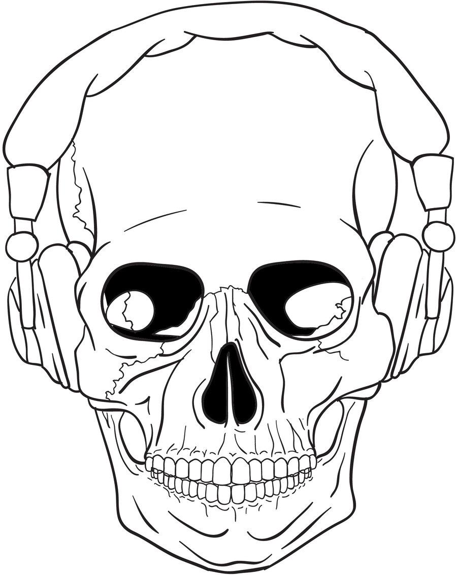 900x1133 Skull Headphones Digital By B Eats