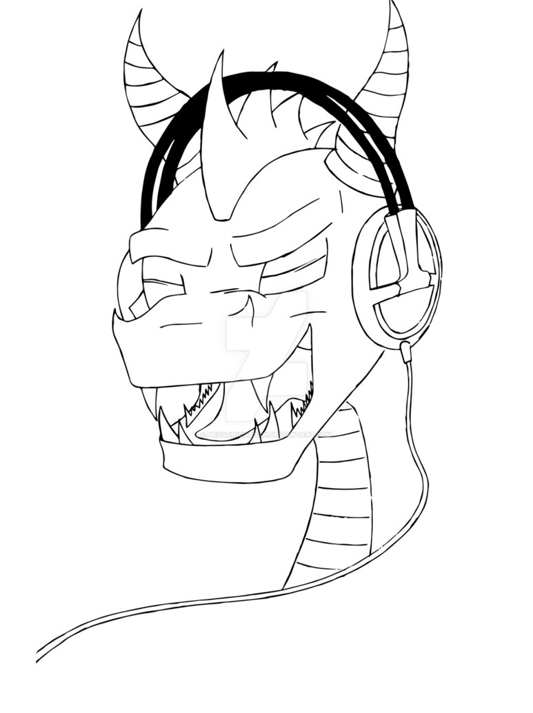 773x1034 Spyro The Dragon Headphones Line Drawing By Prosonicdagan