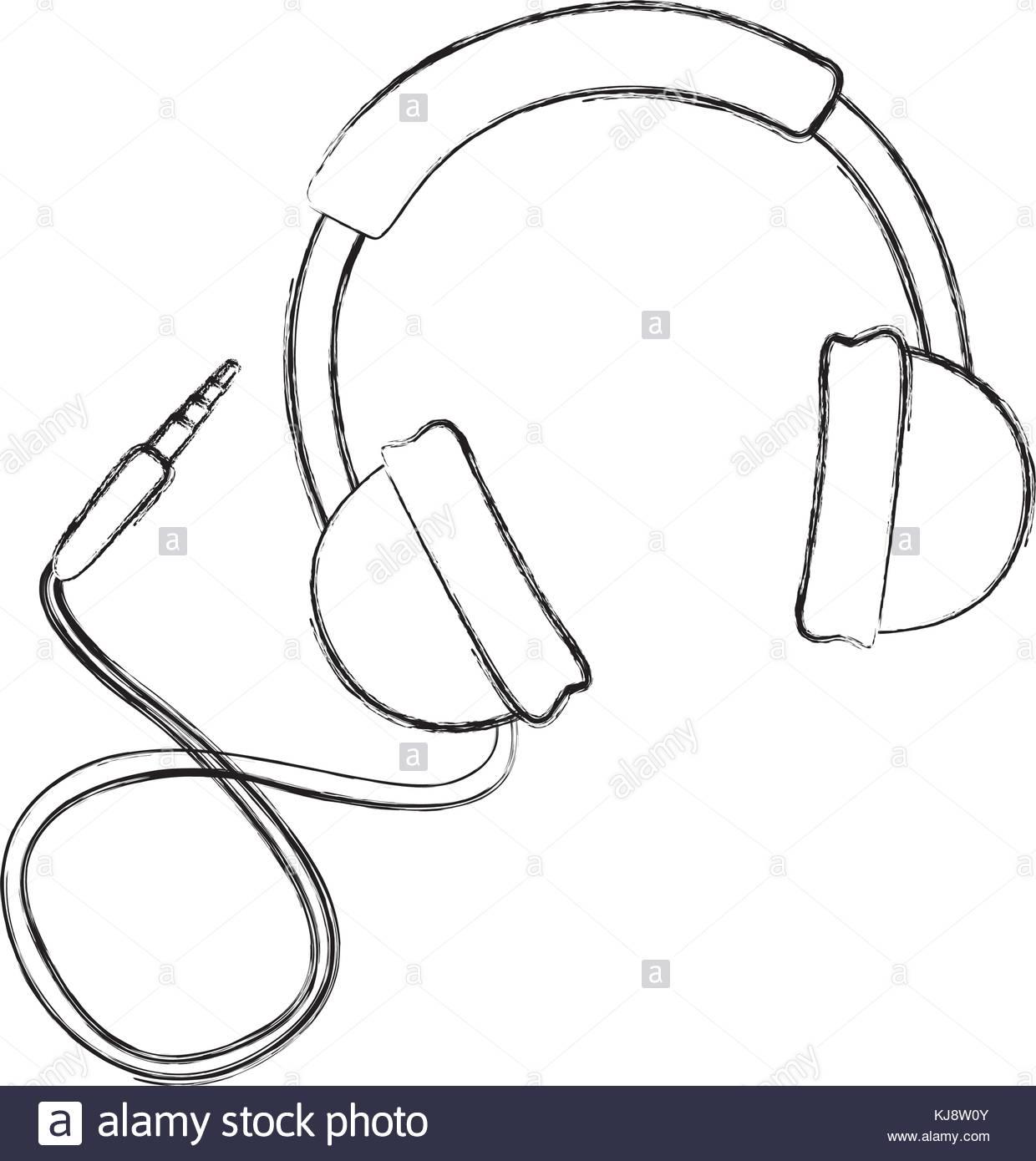 1240x1390 Sketch Draw Headphones Cartoon Stock Vector Art Amp Illustration