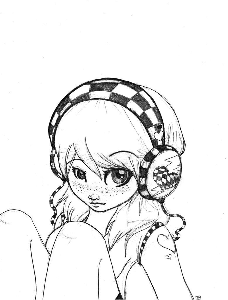 780x1025 Checkered Headphones Sketch By Strawberriecandie