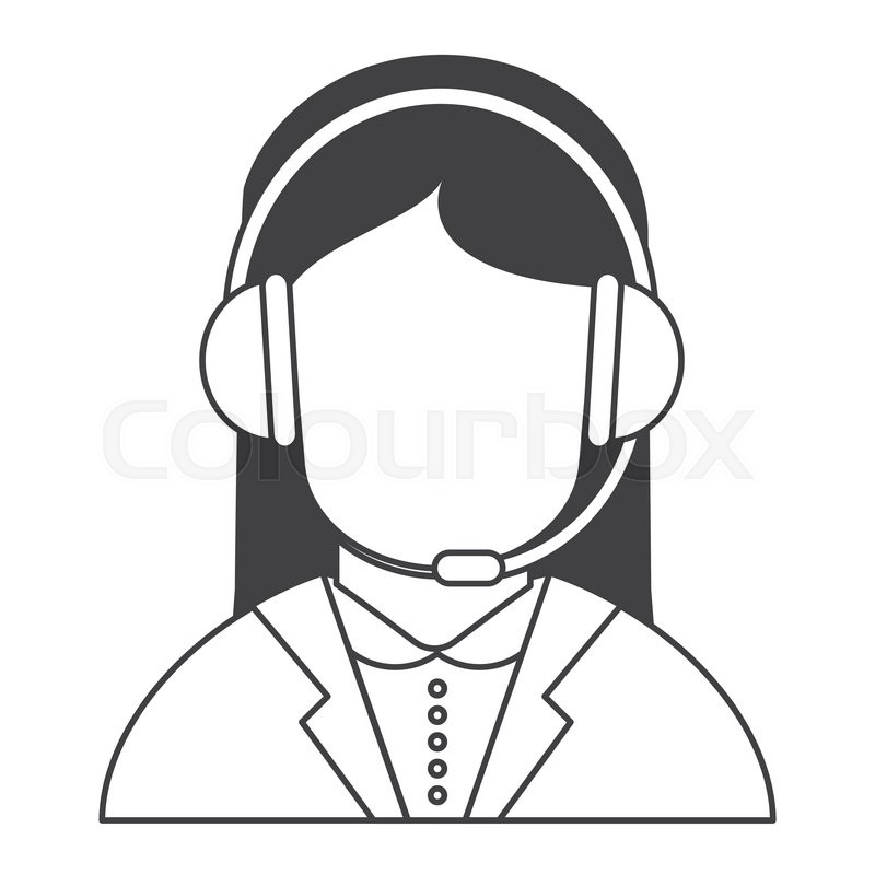 800x800 Flat Design Female Person With Headset Icon Vector Illustration