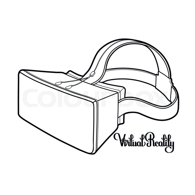 800x800 Graphic Virtual Reality Headset Drawn In Line Art Style. Vector