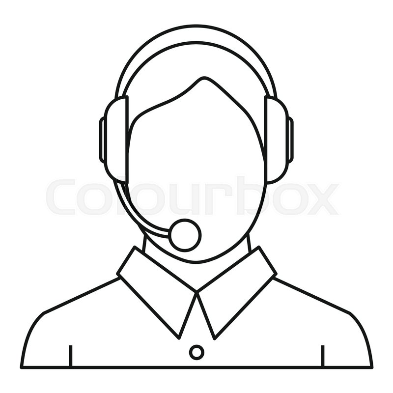 800x800 Man Headset Icon. Outline Illustration Of Man